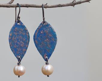 Patina earrings, Blue earrings, Copper earrings, Pearl earrings, Blue jewelry, Patina copper earrings, Silver hook, Girlfriend gift Handmade