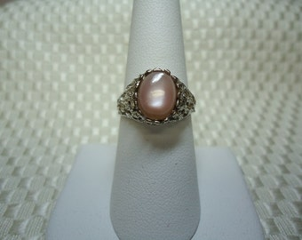 Oval Cabochon Pink Mother of Pearl Ring in Sterling Silver   #823