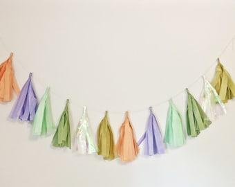 TASSEL GARLAND- assembled, choose colors: tassle garland / tissue garland / custom / wall decor / party / wedding / shower / canadian / yyz