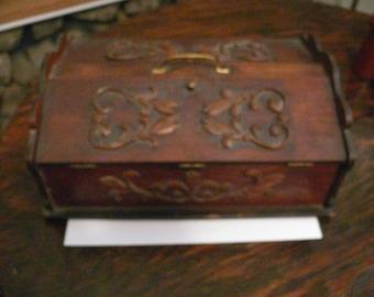 Vintage Wooden Letter Box , Glove Box or Dresser Box.