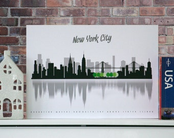 NEW YORK City poster, Minimalist city scape, wall decor, poster, New York boroughs, typography, A3, Central Park, nyc