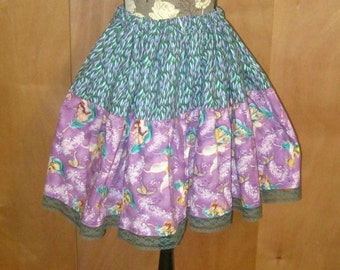 Tinkbell and Friends Purple n Teal Lolita Lace Twirly Fairy Skirt-Adustable Waist-OOak-Gift