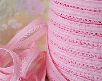 5yds Pink Elastic Picot Trim 3/8 inch Single sided Edging Headband Bra Lingerie Elastic by the yard, Skinny Elastic