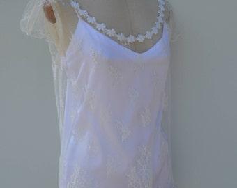 Verheiratete Spitzen Nachthemd, Shirt Spitze Ecru Hochzeit, weiß Hochzeit Spitzen Nachthemd, verheiratete Ecru Babydoll Rückenfrei, Rundhals