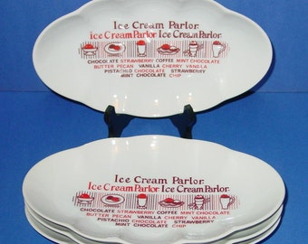 Vintage Nostalgic Ice Cream Parlor Banana Split Dessert Dishes (4)