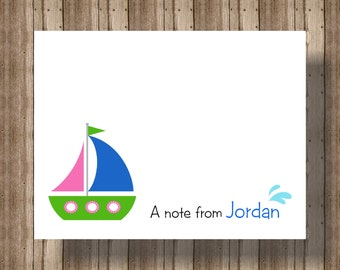 PERSONALIZED NOTECARDS Sailboat/Boxed Set of 10 for Girls or Boys/Nautical Party Thank You Card/Summer Sailboat Notecard/Sailboat Thank You