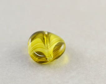 Olive Green Glass Bead, Glass 12mm Coin Bead, One