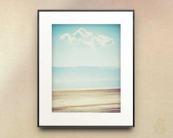 Great Salt Lake Photograph // Utah Photography // White Cloud Blue Sky Beach Landscape //  8x10 8x12 11x14