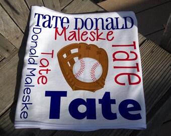 Personalized Baseball Baby Blanket - Sports Theme Receiving Blanket - Custom Baby Blanket - Baby Swaddle Blanket - Baby Blanket Photo Prop
