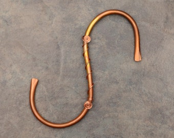 1 Copper S Hook, Garden S Hook, Plant Hook Hanger, Large 6 inch S Hand Formed and Forged