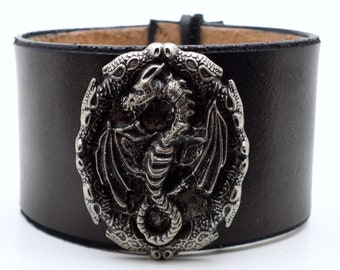 Antiqued silver dragon amulet concho on black leather wristband