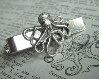 Silver Octopus Men's Tie Clip Nautical Steampunk Style Gothic Victorian Vintage Inspired Men's Tie Bars Men's Accessories Men's Gifts New