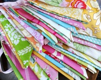 Long Fabric Bunting Flag Banner Pennants, Wedding Decoration. Designer's Choice Bright, Colorful Bunting, Medium Size Flags,