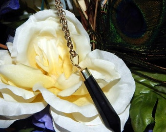 Gold Pendulum Necklace Black Agate - Divining tool, Pendulum pendant with 30 inch adjustable chain - Reiki Magic Wicca Pagan Wiccan jewelry