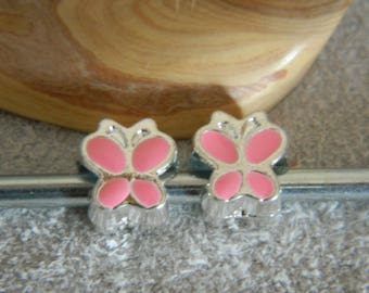 Silver 10 * 9mm /charms 1 pink metal Butterfly bead