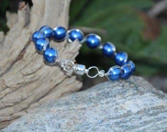 Silver N Blue Wire Bangle Bracelet, Bangle Bracelet, Wire Bangle Bracelet