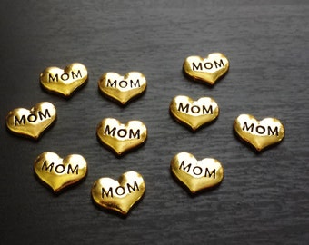 Gold Mom Heart Floating Charm for Floating Lockets