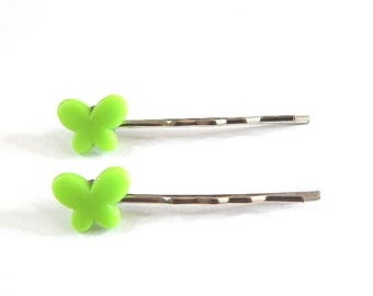 2 hair pins Bobby child or adult Apple Green Butterfly ° °