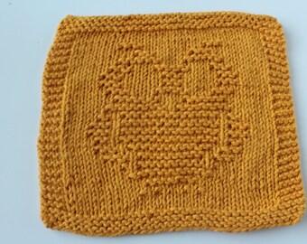 Owl Knit Washcloth, Owl Knit Dishcloth, Gold Owl Dishcloth, Knit Cotton Washcloth, Whimsical Owl Washcloth