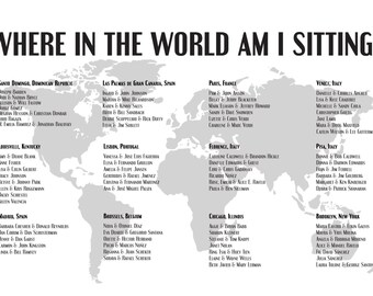 Seating Chart World Map Digital Design Printable PDF Custom Personal Poster Print File ONLY