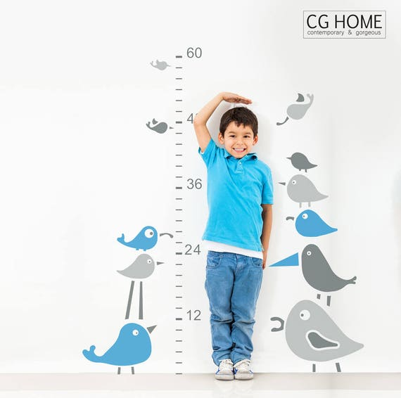 Birds Growth Chart Wall Decal Ruler Blue Scandinavian Wall Sticker Removable Self Adhesive Children Kids Baby Room Decor Playroom NURSERY