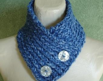 Shades of Blue Handknit Neckwarmer Scarflette Scarf