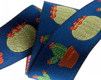 7/8-inch woven jacquard ribbon, cactus on blue background
