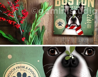 Boston Terrier Dog Mistletoe Company artwork on gallery wrapped canvas by Stephen Fowler