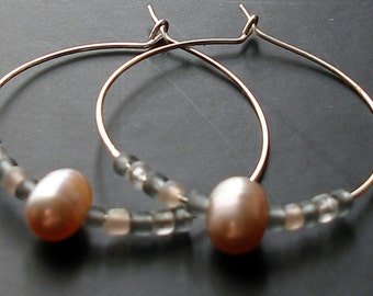 Freshwater Pearl Silver Hoop Earrings - Natural, Feminine Mauve Neutral Earth Tones Go With Everything! for the Earthy Mermaid - On Sale