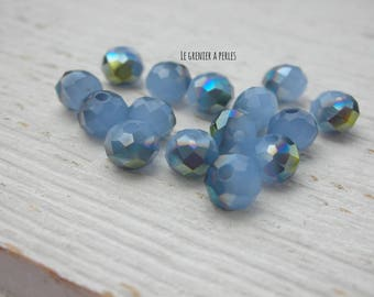 Abacus 6 mm blue Opal X 20 Satin beads