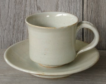 Japanese Ceramics, Ceramic Cup, Cup with Saucer, Coffee Cup, Beige Cup, Japanese Pottery, Handmade Ceramics, Made In Japan.
