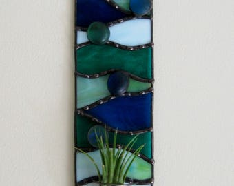 Stained Glass Air Plant Holder-Blue Green Plant Holder-Indoor Gardening-Stained Glass Art-Home Decor-Wall Decor-Wall Planter-Window Decor