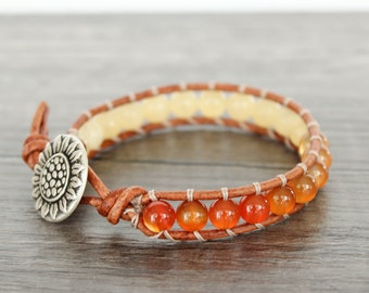 Carnelian Bracelet • Orange Beaded Bracelet • Yellow Beaded Leather Bracelet • Yellow Calcite Bracelet • Sunflower Bracelet • 1XYC010
