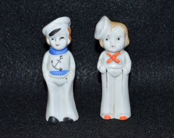Japanese Sailor Figurines, 1940s Sailor Boy and Sailor Girl Bisque Figurines, Ceramic Sailor Statuette Made in Japan, Miniature Sailors