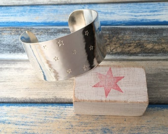S T A R - handstamped sterling silver cuff