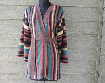 70s bell sleeve sweater vintage boho striped earthy space dyed knit large XL