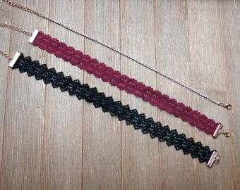 TRIO - Choker Set - Black Lace, Burgundy Lace, and Rhinestone Choker Necklace