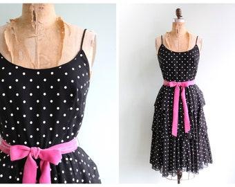 Vintage 1970's Black Polka Dot Dress | Size Extra Small