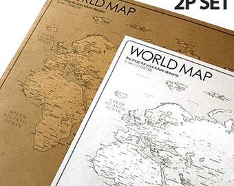 Vintage World Map [ Kraft / White ]