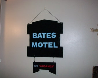 Bates motel wooden sign hand made