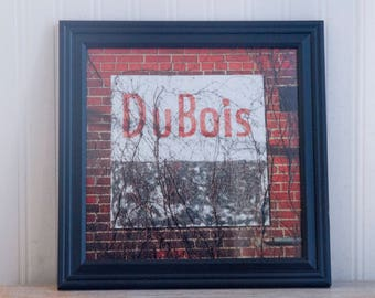 DuBois Photography Framed Print, Rustic Brick Wall with Words, Red White Black, Pennsylvania Art Print, Square