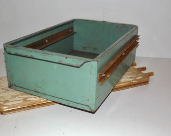 """Heavy duty industrial storage Large green metal cabinet drawer,green metal storage box,19""""x12""""x6"""",industrial decor,planter,man cave,shed"""