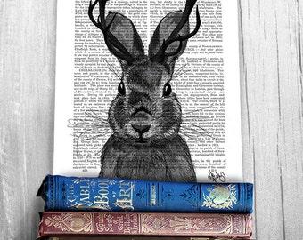 Jackalope Print with grey Antlers - rabbit print Whimsical art Whimsical print Whimsical Animal art unusual gift Woodland Nursery décor