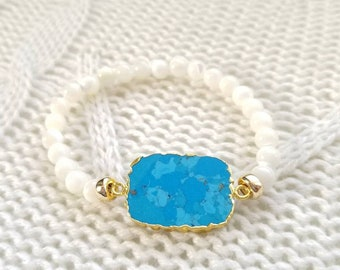 Turquoise and Mother of Pearl Stretch Bracelet