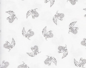 RJR Fabrics Bare Essentials 1507 4 Black Roosters on White by the yard