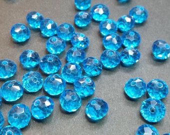 20 8x6mm faceted turquoise glass beads