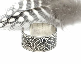Sterling Silver Ear Cuff, Silver, Ear Clip, Tooled Leather Texture, Ear Cuff for Women,