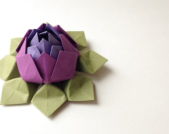 Origami Paper Flowers -  handmade lotus flowers in purple, grape and moss