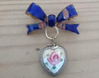 Vintage enamel suspended heart locket bow bar brooch