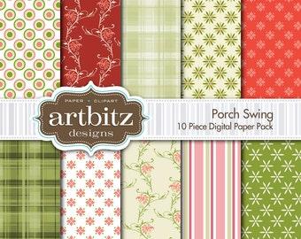 "Porch Swing 10 Piece Digital Scrapbook Paper Pack, 12""x12"", 300 dpi .jpg, Instant Download!"